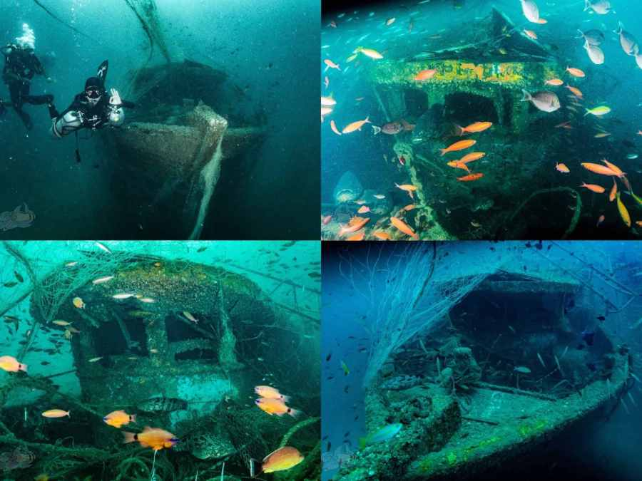 a collage of photos from the trawler wreck
